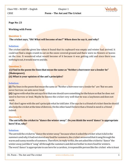 NCERT Solutions Class 8 English Honeydew Chap-1 Poem part-1