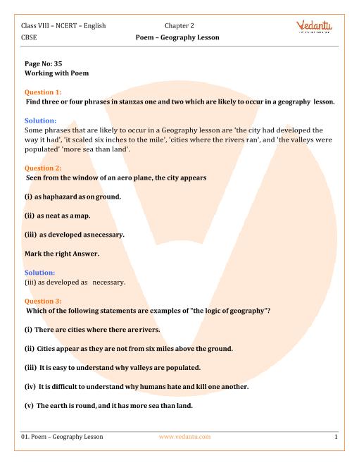 NCERT Solutions Class 8 English Honeydew Chap-2 Poem part-1