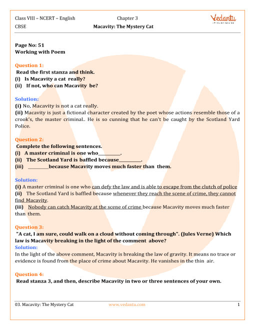 NCERT Solutions Class 8 English Honeydew Chap-3 Poem part-1
