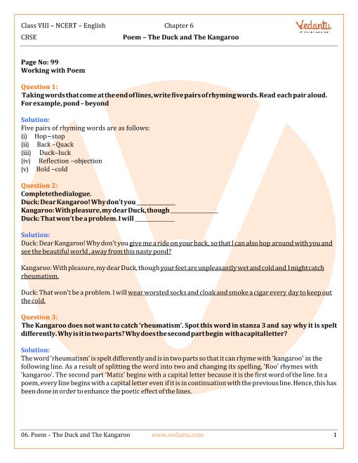 NCERT Solutions Class 8 English Honeydew Chap-6 Poem part-1