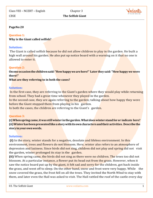 NCERT Solutions Class 8 English IT So Happened Chap-3 part-1
