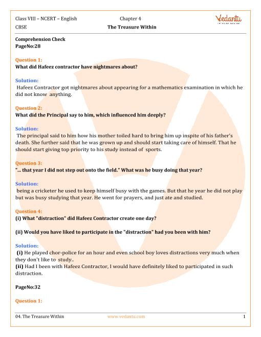 NCERT Solutions Class 8 English IT So Happened Chap-4 part-1