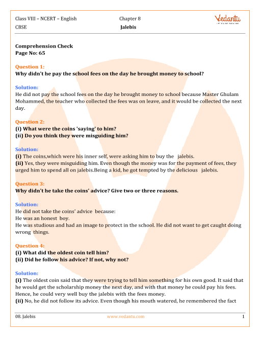 NCERT Solutions Class 8 English IT So Happened Chap-8 part-1
