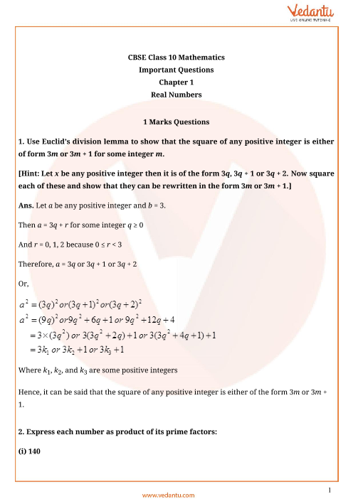 Important Questions for Class 10 Maths Chapter 1 - Real Number part-1