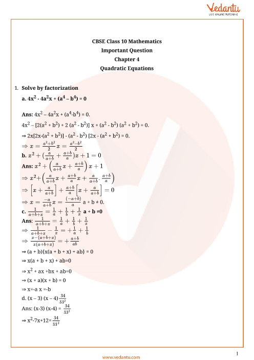 Important Questions for Class 10 Maths Chapter 4 - Quadratic Equations part-1