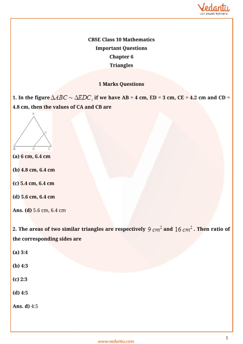 Important Questions for Class 10 Maths Chapter 6 - Triangles part-1