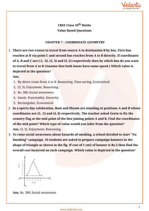 Important Questions for Class 10 Maths Chapter 7 - Coordinate Geometry part-1