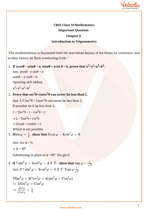 Important Questions for Class 10 Maths Chapter 8 - Introduction to Trigonometry part-1