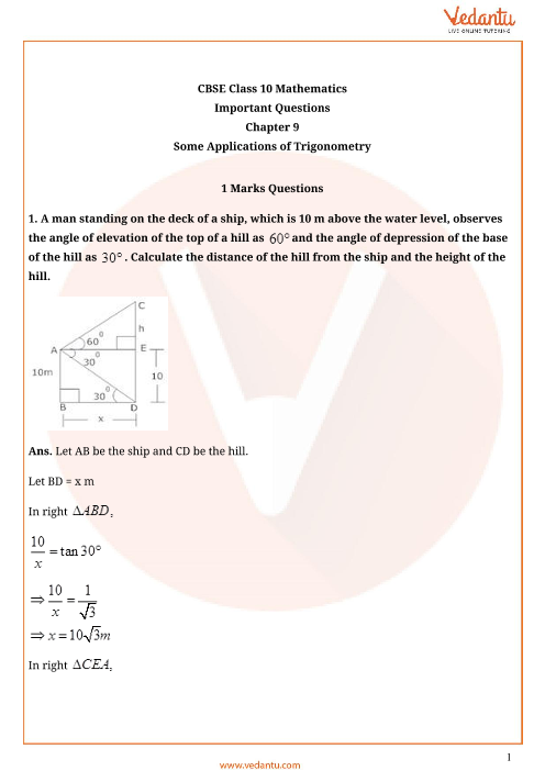 Important Questions for Class 10 Maths Chapter 9 - Some Applications of Trigonometry part-1