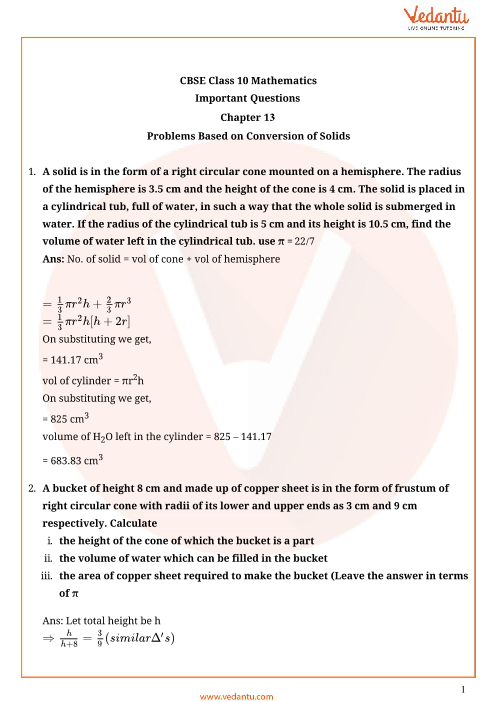 Important Questions for Class 10 Maths Chapter 13 - Surface Area and Volumes part-1
