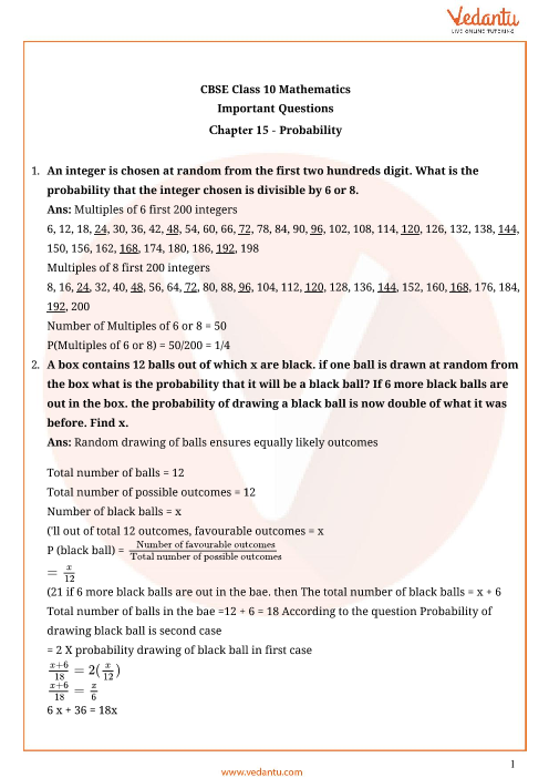 Important Questions for Class 10 Maths Chapter 15 - Probability part-1