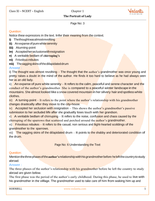 NCERT Solutions Class 11 English Hornbill Chapter-1 part-1
