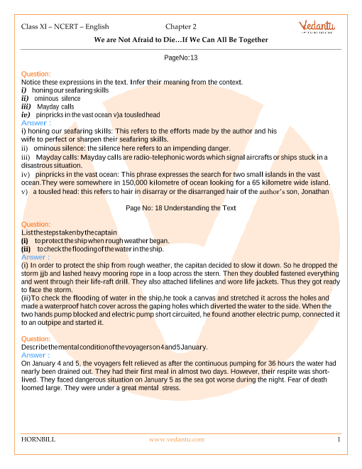 NCERT Solutions Class 11 English Hornbill Chapter-2 part-1