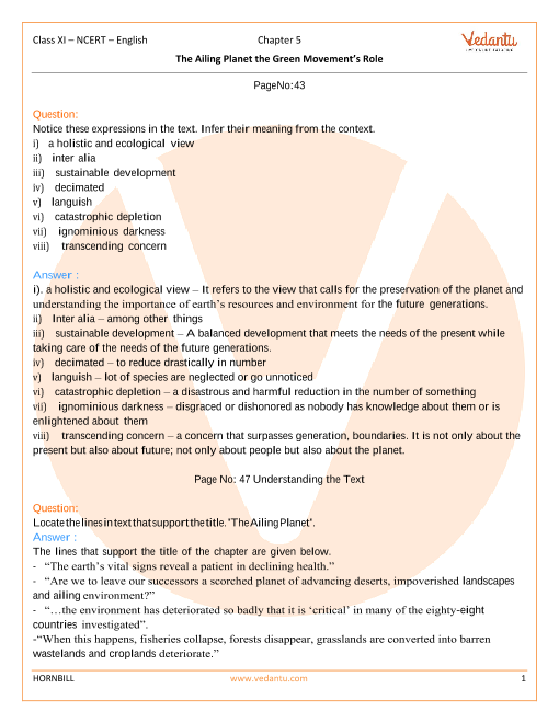 NCERT Solutions Class 11 English Hornbill Chapter-5 part-1