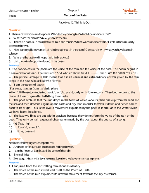 NCERT Solutions Class 11 English Hornbill Chapter-4 Poem part-1