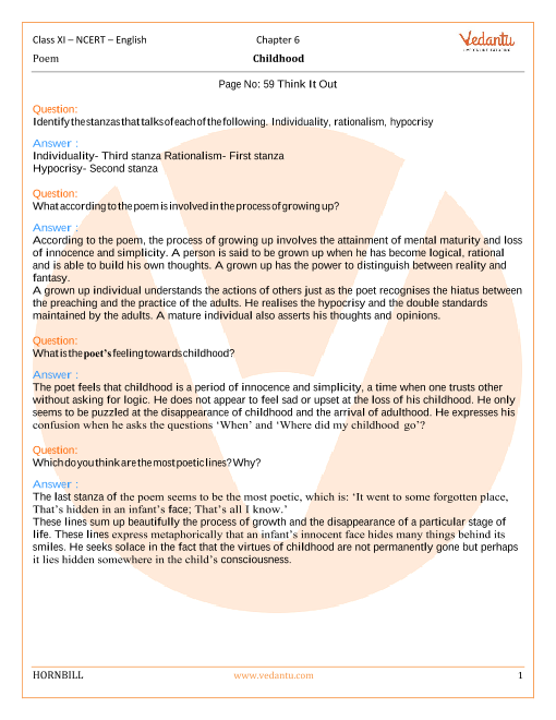 NCERT Solutions Class 11 English Hornbill Chapter-6 Poem part-1