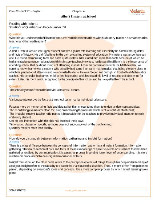 NCERT Solutions Class 11 English Snapshots - chap-4 part-1