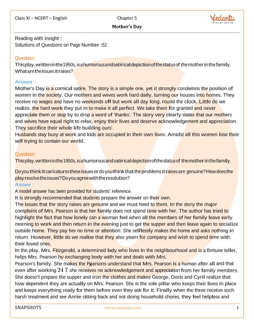 NCERT Solutions Class 11 English Snapshots - chap-5 part-1