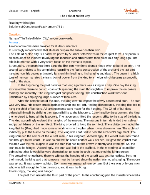 NCERT Solutions Class 11 English Snapshots - chap-8 part-1