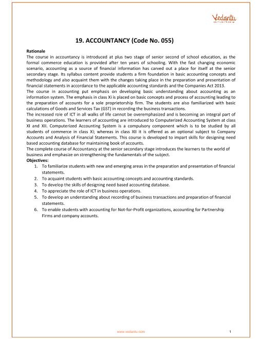 CBSE Class XII Accoutancy Syllabus 2018-19 part-1
