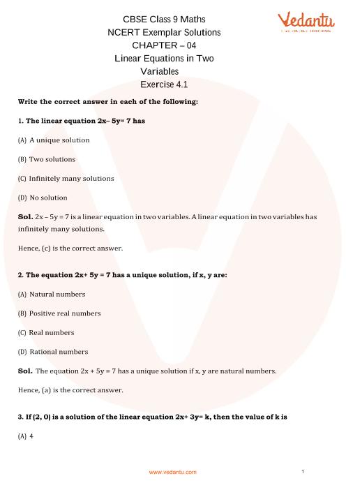 NCERT Examplar for Class 9 Maths Chapter-4 part-1