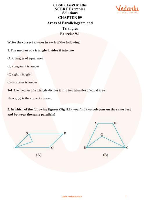 NCERT Examplar for Class 9 Maths Chapter-9 part-1