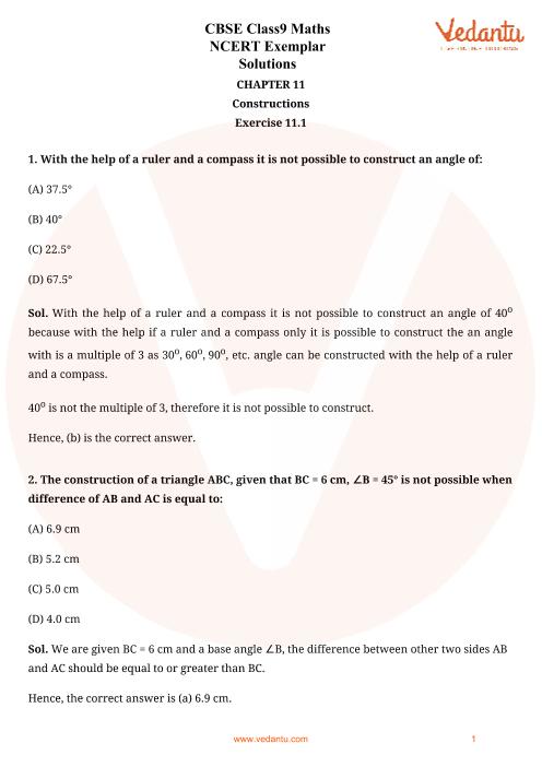 NCERT Examplar for Class 9 Maths Chapter-11 part-1