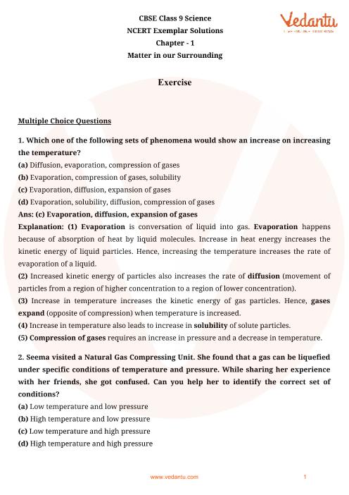 NCERT Exemplar for Class 9 Science chapter 1 part-1