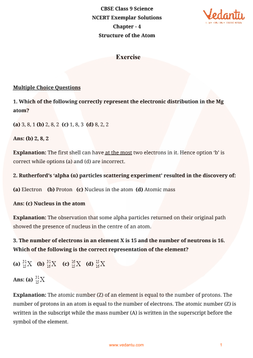 NCERT Exemplar for Class 9 Science chapter 4 part-1