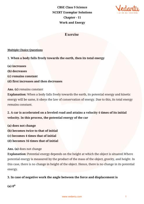 NCERT Exemplar for Class 9 Science chapter 11 part-1