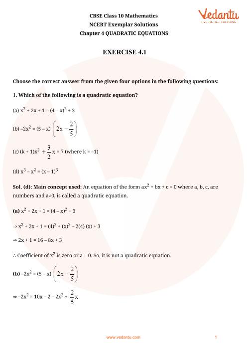 NCERT Exemplar for Class 10 Maths Chapter-4 part-1