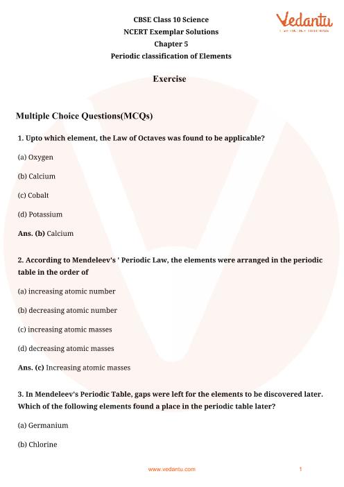 NCERT Exemplar for Class 10 Science Chapter-5 part-1