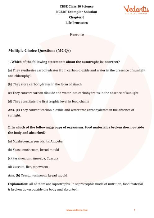 NCERT Exemplar for Class 10 Science Chapter-6 part-1