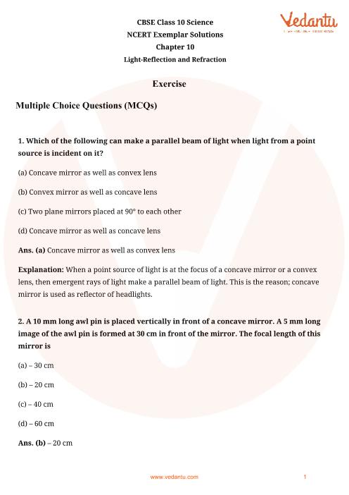 NCERT Exemplar for Class 10 Science Chapter-10 part-1