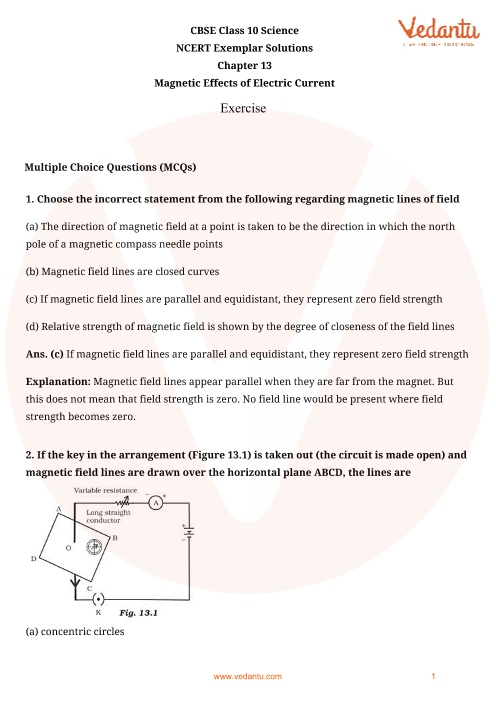 NCERT Exemplar for Class 10 Science Chapter-13 part-1
