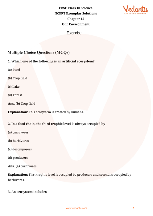 NCERT Exemplar for Class 10 Science Chapter-15 part-1