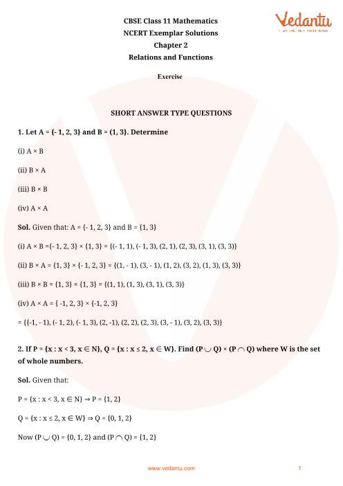 NCERT Exemplar Class 11 Maths Chapter-2 part-1