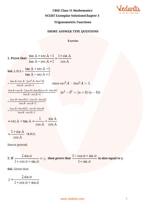 NCERT Exemplar Class 11 Maths Chapter-3 part-1