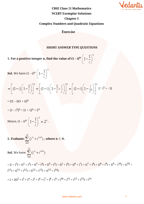 NCERT Exemplar Class 11 Maths Chapter-5 part-1
