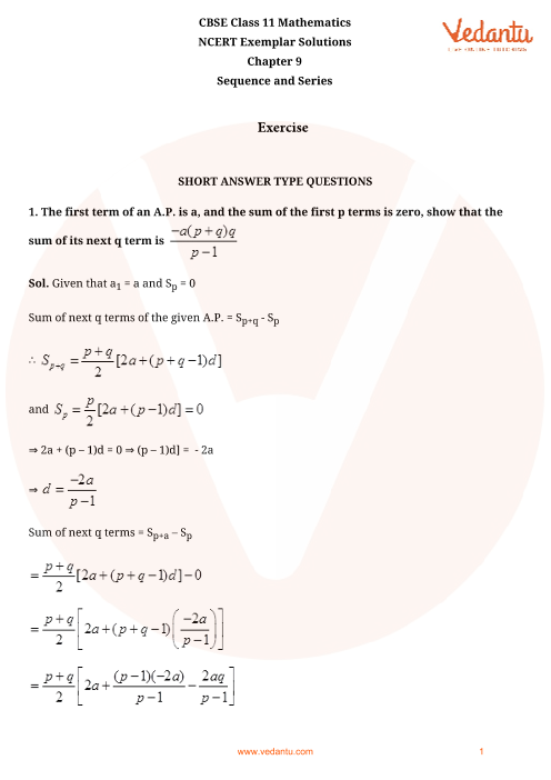 NCERT Exemplar Class 11 Maths Chapter-9 part-1