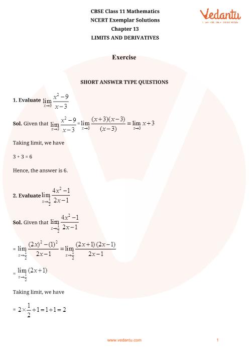 NCERT Exemplar Class 11 Maths Chapter-13 part-1