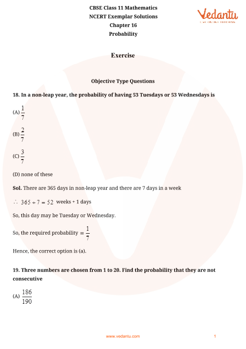 NCERT Exemplar Class 11 Maths Chapter-16 part-1