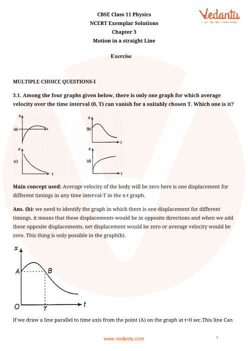NCERT Exemplar Class 11 Physics Chapter-3 part-1
