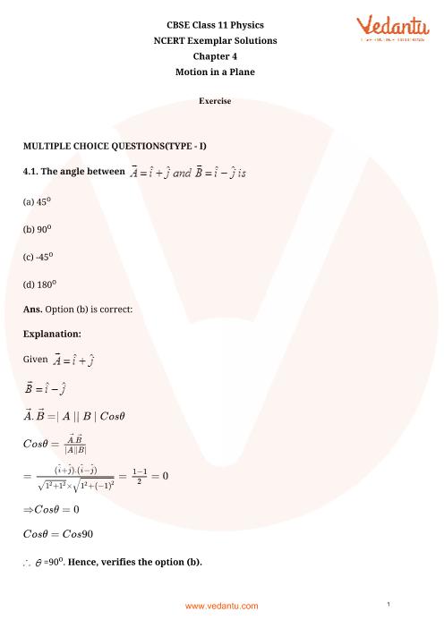 NCERT Exemplar Class 11 Physics Chapter-4 part-1