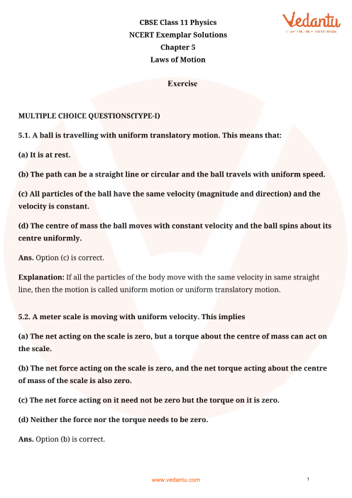 NCERT Exemplar Class 11 Physics Chapter-5 part-1