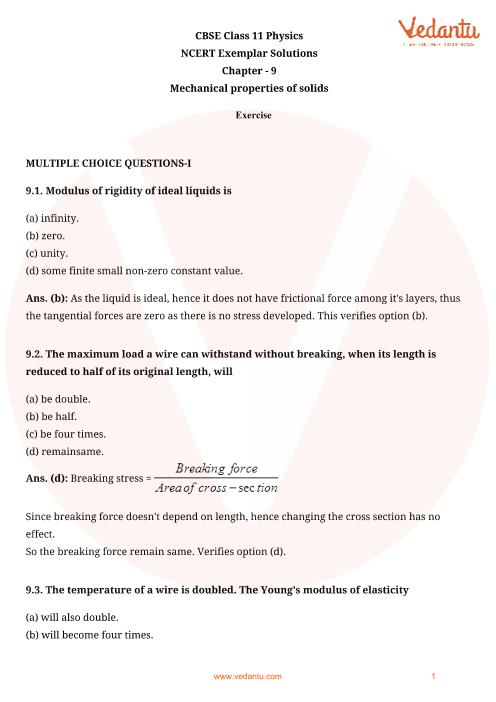 NCERT Exemplar Class 11 Physics Chapter-9 part-1