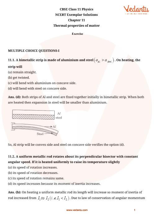 NCERT Exemplar Class 11 Physics Chapter-11 part-1