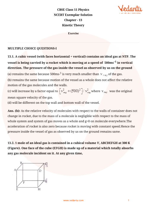 NCERT Exemplar Class 11 Physics Chapter-13 part-1