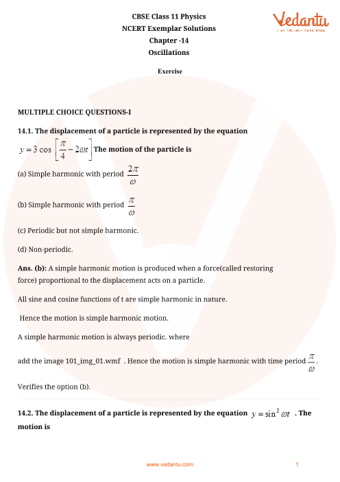 Ncert Exemplar Class 11 Physics Solutions Pdf