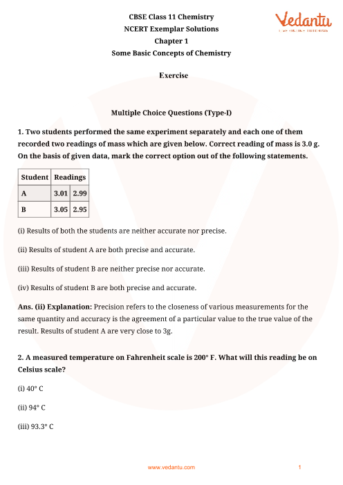 NCERT Exemplar Class 11 Chemistry Chapter-1 part-1